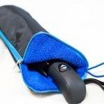 マイクロファイバー傘カバーでひらくPCバッグminiに濡れた傘を収納
